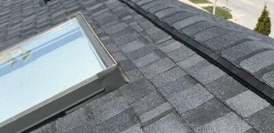 High quality asphalt roofing shingles + skylight replacement with correct ventilation